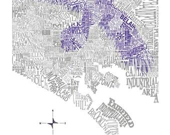 Baltimore Neighborhood map with raven 11x14in Print