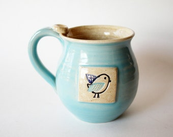 Light Blue Coffee Mug - Cup with bird on it - ready to ship - Handmade Pottery