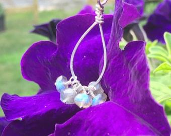Labradorite Cluster Sterling Silver Pendant Necklace - you pick chain length - teardrop tear drop - blue green flash fire
