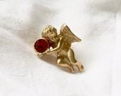 Vintage 1960s Avon Gold tone Cupid Cherub Scatter Pin Brooch w/ Ruby July Birthstone Gemstone Crystal, Love, Valentine's, Anniversary