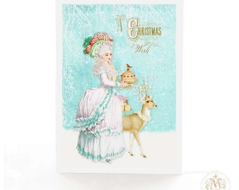 Marie Antoinette, Christmas card, white Christmas, deer, reindeer, vintage style, holiday card, blue, white, a Christmas wish, card for her