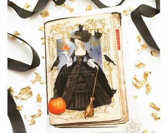 Halloween card, Halloween witch, Halloween holiday card, Marie Antoinette, broomstick, bat, crow, pumpkin, black, orange, gothic card