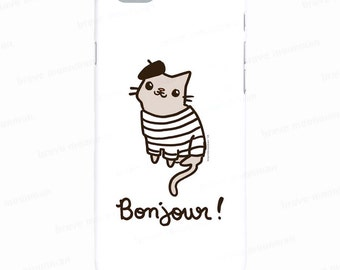 Samsung Galaxy S7 Case Bonjour French Cat Cute Cat Phone Case Galaxy Note 5 Case Gifts for Cat Lovers