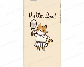 Cute Cat iPhone 6s Case Hello Love Tennis Cat Cute Galaxy Note 5 Case Cat Lover Gift