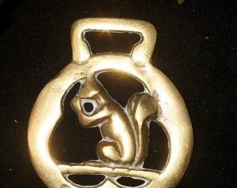 Vintage or Antique Squirrel, Horse Brass - British, Pagan, Wicca, Folklore - Rare