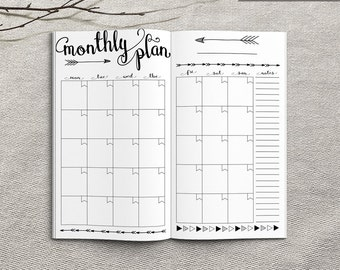 Printable Monthly Planner Inserts, Personal Monthly Planner, Printable Personal Traveler's Notebook monthly inserts, PDF file