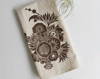 Floral Corsage Handmade Block Printed Flour Sack Towel