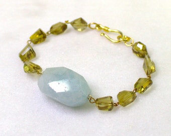 Aquamarine and Whiskey Quartz Faceted Nugget Bracelet in gold.....