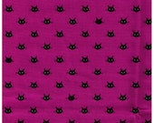 HALF YARD Coco Land Cat Face on Purple - Cocoland Kitties - Black Kitty Head - Japanese Import Fabric