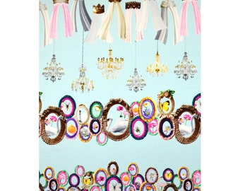 HALF YARD - Kokka - Candy Party Manege- Swans and Picture Frames on BLUE - Border Print -  Flower, Frames - Japanese Imported