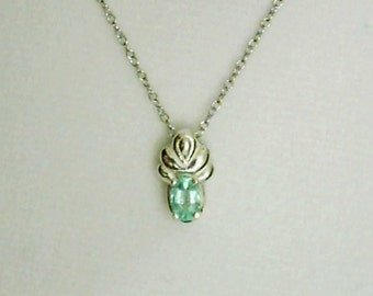 6x4mm Emerald Gemstone in 925 Sterling Silver Pendant Necklace