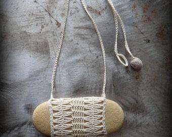 Artist Necklace, Crocheted Lace, River Stone, Oblong, Fringe, Handmade, Diamonds, Nature, Tribal, Bohemian, Monicaj