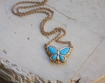 FREE SHIPPING Vintage Goldtone Necklace with Faux Turquoise Butterfly Pendant