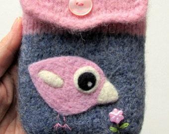 Blue pink wool pouch bag purse cellphone cozy needle felted pink birdie bird flower