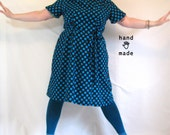 Ellipsis Dress -- plus size, size 22 or 24W, 2X, XXL -- polka dot, black, turquoise blue -- retro 80s, like, totally -- 50B-45W-58H