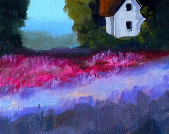 Oil Painting, Original Landscape, 6x8 Canvas, Farm House, Country Field, Lavender Blue, Pink Violet, Trees, Foggy Morning, Rural Cottage