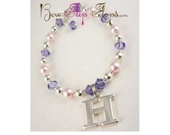 Pink & Purple Girl's Charm Bracelet, Personalized Initial, Flower Girl Bracelet, Baby or Girl Jewelry