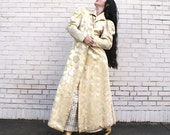 Heavy Heavy Brocade 40's Evening Jacket Coat Golden Great Sleeves Mutton Style