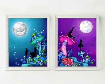 Alice in Wonderland Wall Art - Alice in Wonderland Decor -  Alice in Wonderland Original Painting Print Set - Cheshire Cat - Annya Kai Art