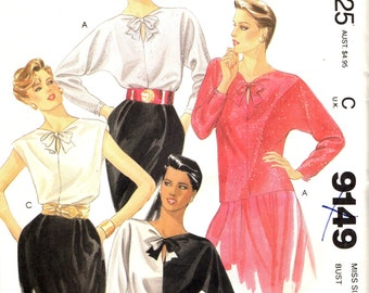 McCall's 9149  Chic Bias Pullover Blouse Tops ©1984 AWESOME CONTRAST Size 8