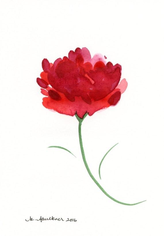 """Watercolor flower painting """"Dancing Mum"""""""