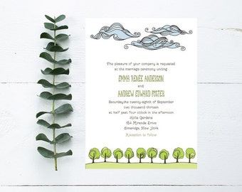 Nature Wedding Invitations - Clouds, Trees, Grassy Theme - Outdoor Wedding Invitation