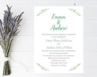 Rustic Spring Invitation - Wedding Invitations, Floral, Custom Rustic Invite, Spring Wedding Invitation