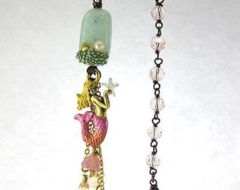 Aquamarine Mermaid Earrings, Pink Mermaid Earrings, Mismatch Earrings, Nautical Mermaid Jewelry, Pink Ocean Earrings, Pink Beach Earrings