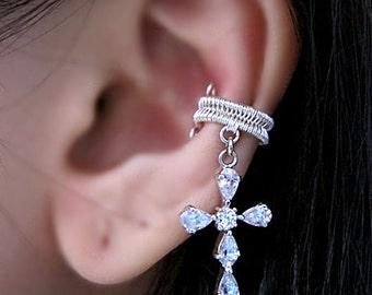 Cross Ear Cuff - Silver Cross Earrings Jewelry - Cross Cuff Earring - Jesus Ear Cuff - Jesus Earrings - Crucifix Earrings - Christian