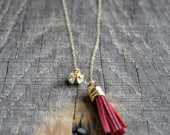 Essential Oil Leather Tassel Diffuser Necklace with Cubic Zirconia pendant- Long Length