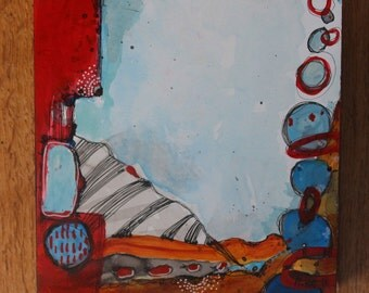 """Zen Painting small format abstract  """"Chain Reaction"""" red, white, and blue with gold 6x 6 by Jodi Ohl"""