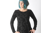Long black top, Black womens top, Black floral jersey top, Black top with long narrow sleeves, Your size