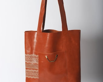 Orange leather tote, Burnt orange varnished leather tote bag with lace trims, Burnt orange leather purse, beige lace