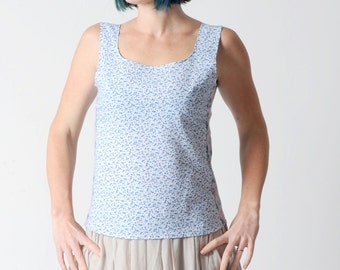 SALE Sleeveless floral top in vintage white cotton with small blue flowers, and floral mesh - sz UK 12