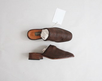 woven leather mules | slip on mules | size 6.5 mules