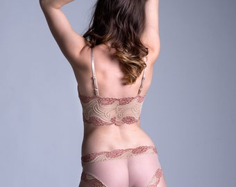 Sheer Panties - 'Lily of the Valley' Style See Through Nude Mesh with Nude and Champagne Lace Trim Panty - Made To Order Women's Lingerie
