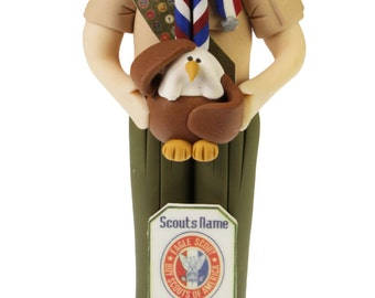 Eagle Scout Statue with Base - Flat on back