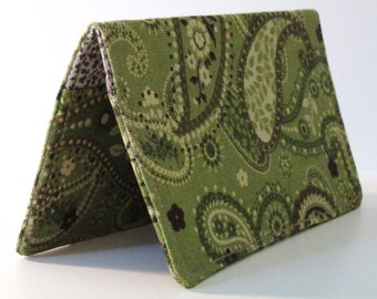 Checkbook Cover - Green & Brown Paisley - Coupons - Wallet - Pocket - Gift - Holiday - Christmas