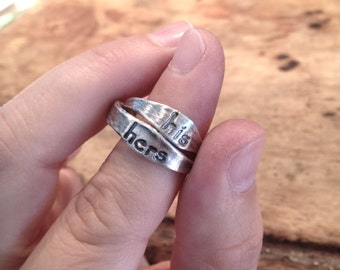 His and Hers Organic Fine Silver Promise Ring Set - Made to Order
