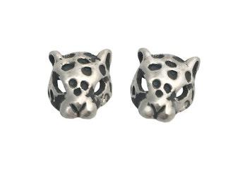 Leopard Earrings     stud post silver gold big cat jewelry