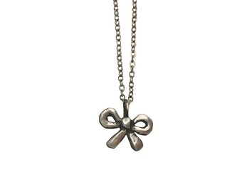 Bow Necklace      Silver charm pendant gold jewelry