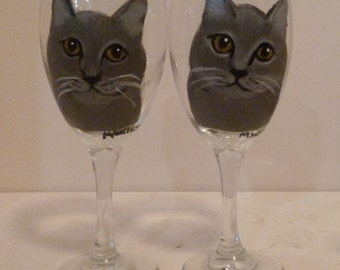 Hand Painted Grey Kitty Cat Wine Glasses set of 2 by Mary Wilson Pet Lovers Boutique
