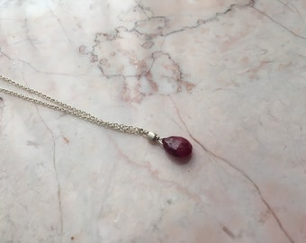 Delicate Ruby and Bali Silver on Sterling Silver Chain
