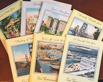 8 Vintage Greeting Cards from San Francisco - Gorgeous illustrations, complete set