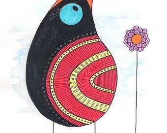 Bird wall art, bird art, bird watercolor, bird painting, animal wall art, animal art, animal watercolor, black bird art, birds wall art