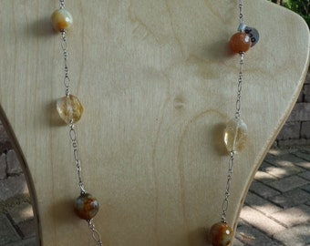 Yellow Citrine, Agate and Sterling Silver Necklace
