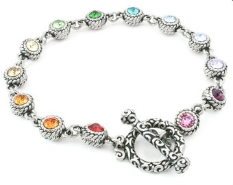 Crystal Rope Bracelet, Rainbow Crystals, Crystal Charm Bracelet, Rainbow Jewelry, 316L Stainless Steel