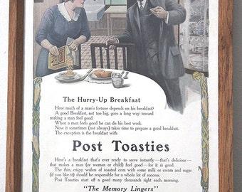 1912 Post Toasties Breakfast Cereal Antique Original Harper's Weekly Magazine Ad Framed Kitchen Bar Rec Room Decor Americana Ephemera