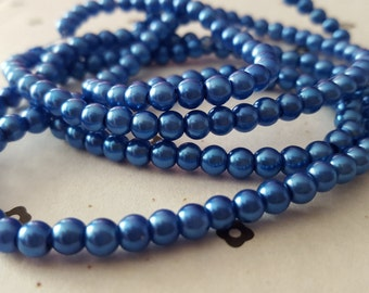 Blue 4mm faux pearls (100 beads)