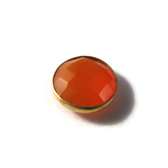 NON DRILLED Chalcedony Stone, Bezel Set Orange Gemstone, Gold Plated Bezel, Jewelry Supplies, 13mm Stone (C-Ra3b)
